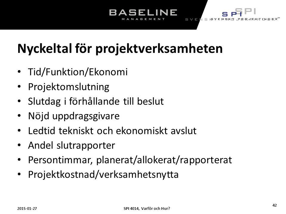 Nyckeltal för projektverksamheten