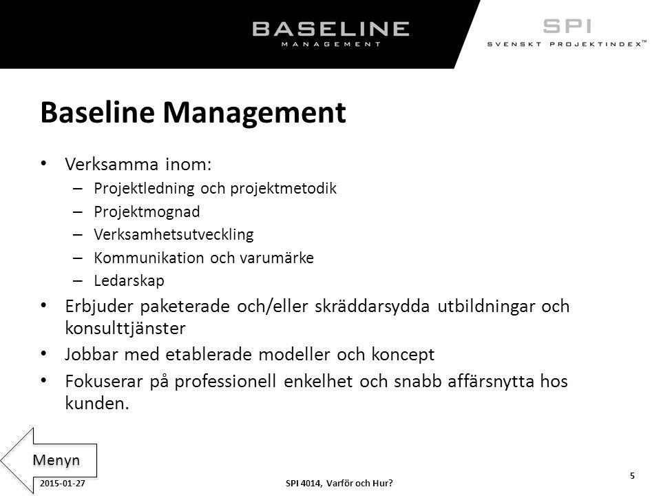 Baseline Management Verksamma inom:
