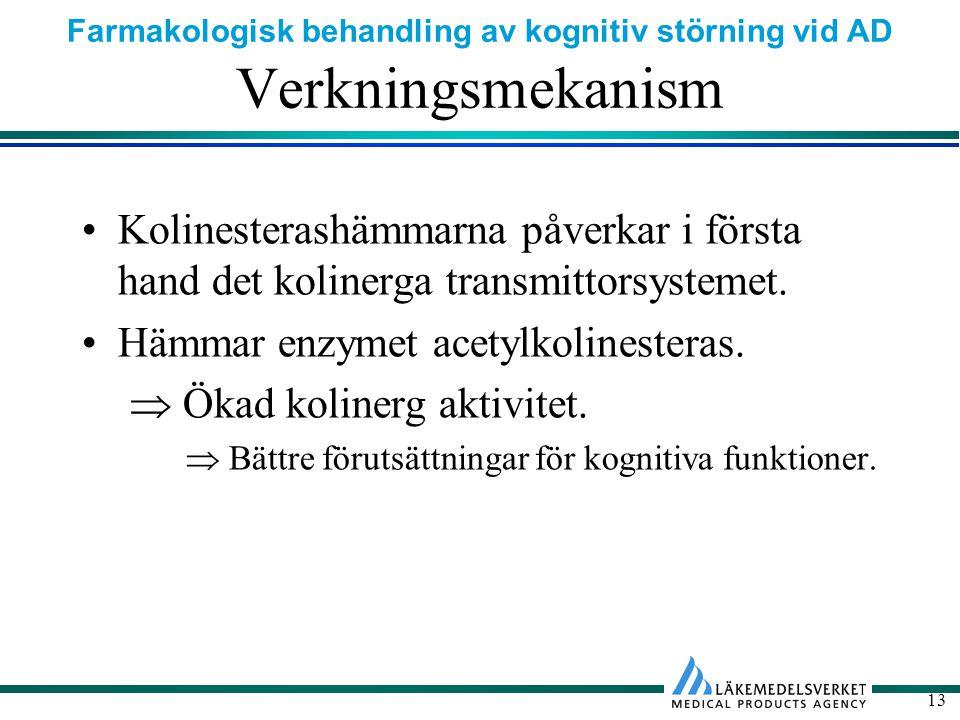 Verkningsmekanism Kolinesterashämmarna påverkar i första hand det kolinerga transmittorsystemet. Hämmar enzymet acetylkolinesteras.