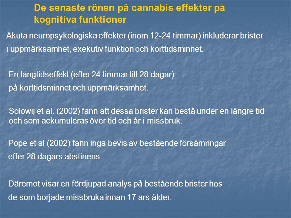 De senaste rönen på cannabis effekter på kognitiva funktioner