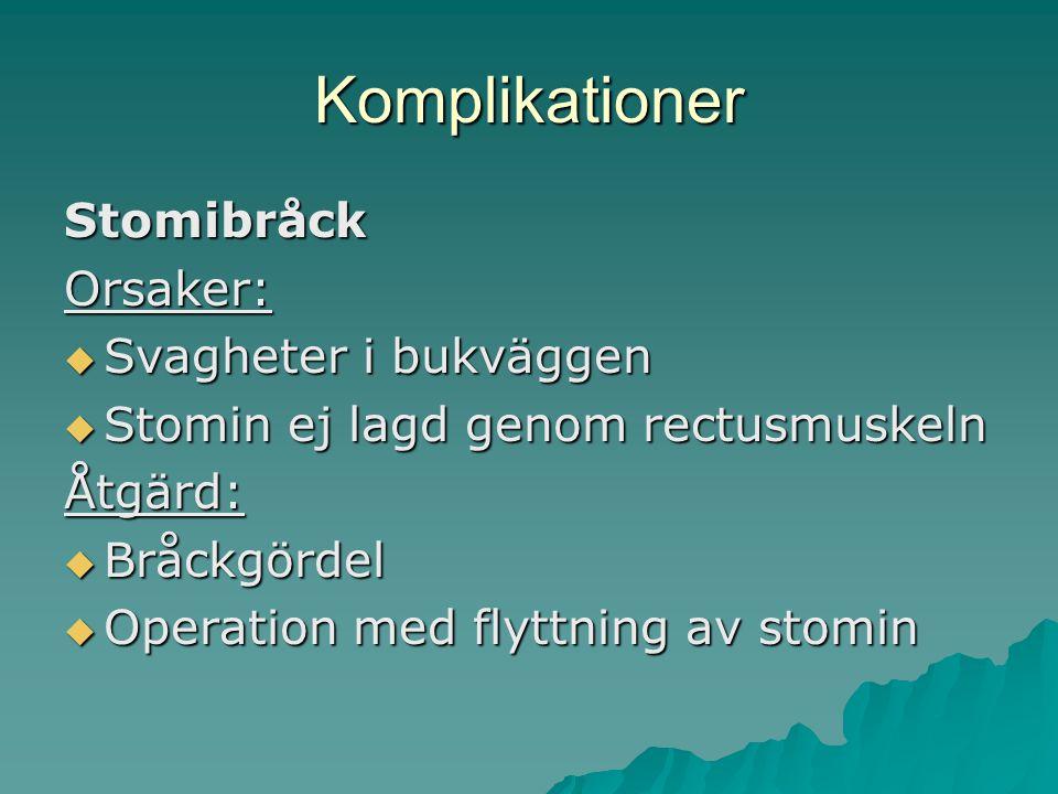 Komplikationer Stomibråck Orsaker: Svagheter i bukväggen