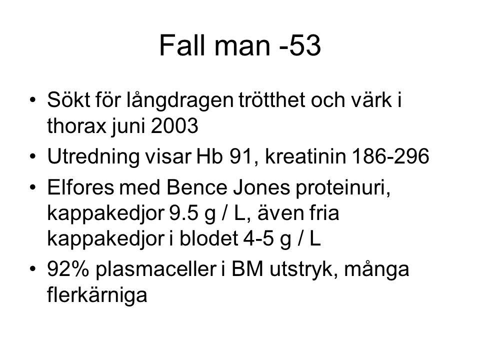 Fall man -53 Sökt för långdragen trötthet och värk i thorax juni 2003