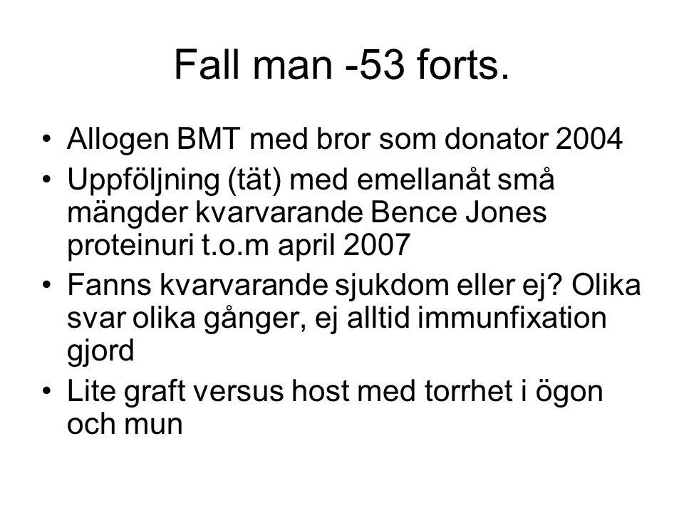 Fall man -53 forts. Allogen BMT med bror som donator 2004