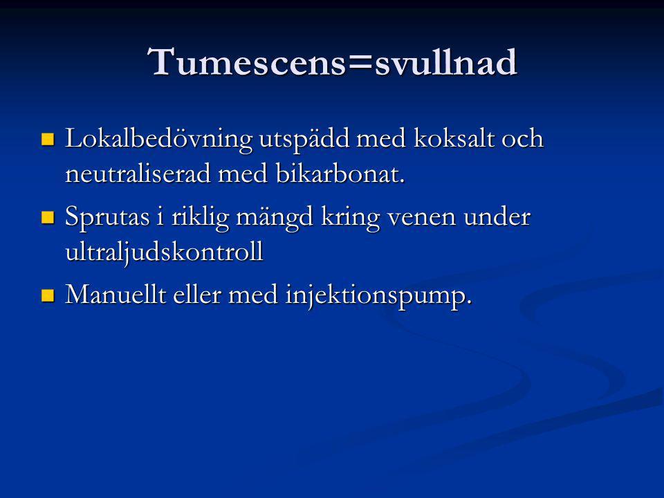 Tumescens=svullnad Lokalbedövning utspädd med koksalt och neutraliserad med bikarbonat. Sprutas i riklig mängd kring venen under ultraljudskontroll.