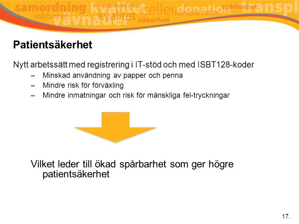 Patientsäkerhet Nytt arbetssätt med registrering i IT-stöd och med ISBT128-koder. Minskad användning av papper och penna.