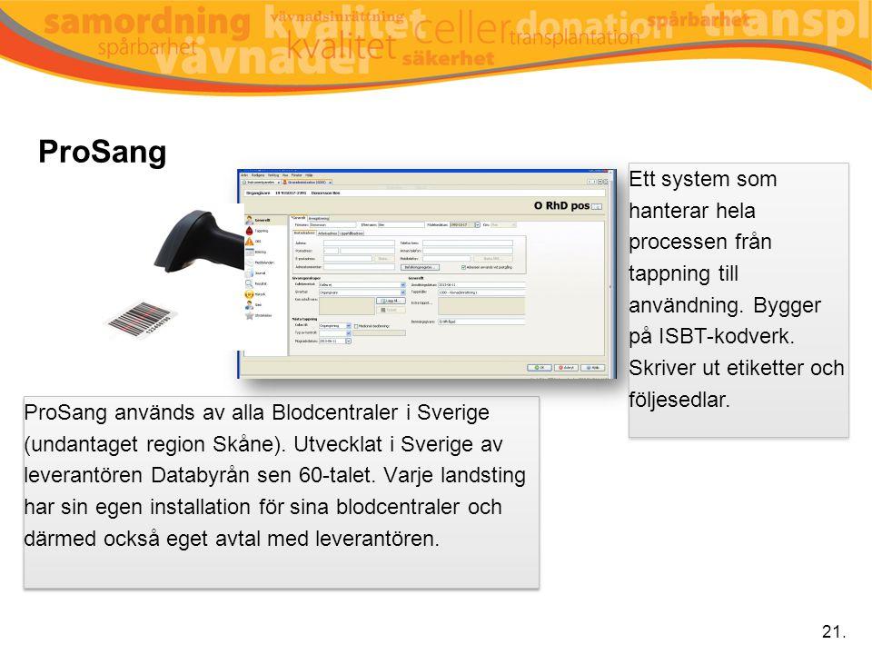 ProSang Ett system som hanterar hela processen från tappning till användning. Bygger på ISBT-kodverk.