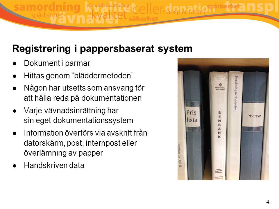 Registrering i pappersbaserat system
