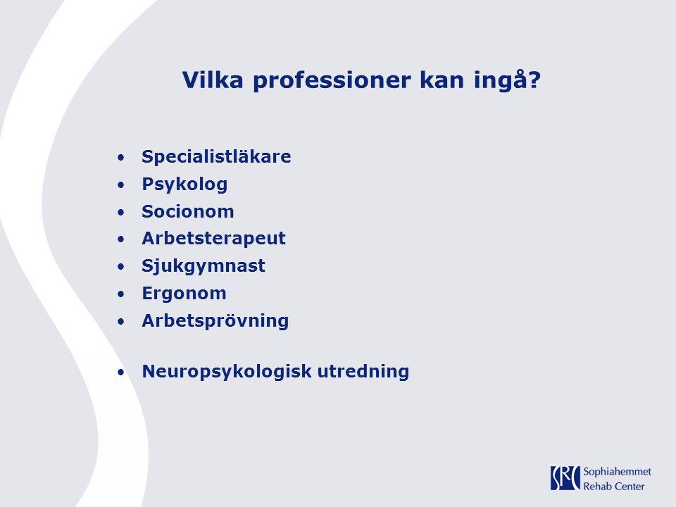 Vilka professioner kan ingå