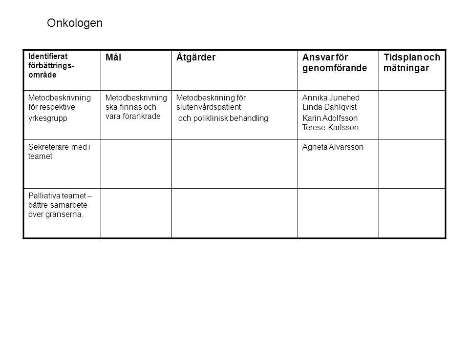 Onkologen Mål Åtgärder Ansvar för genomförande Tidsplan och mätningar