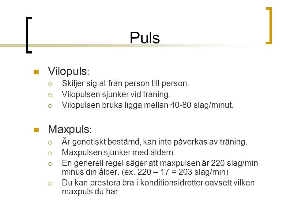 Puls Vilopuls: Maxpuls: Skiljer sig åt från person till person.