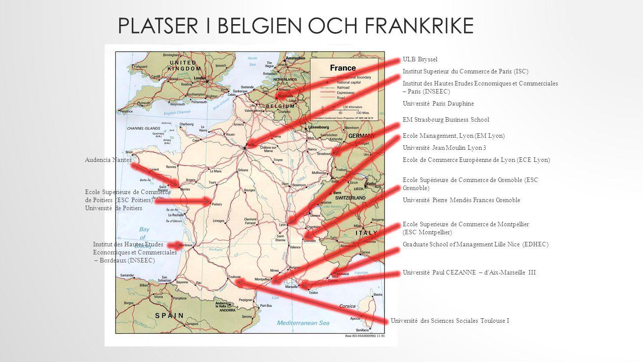 Platser i Belgien och Frankrike