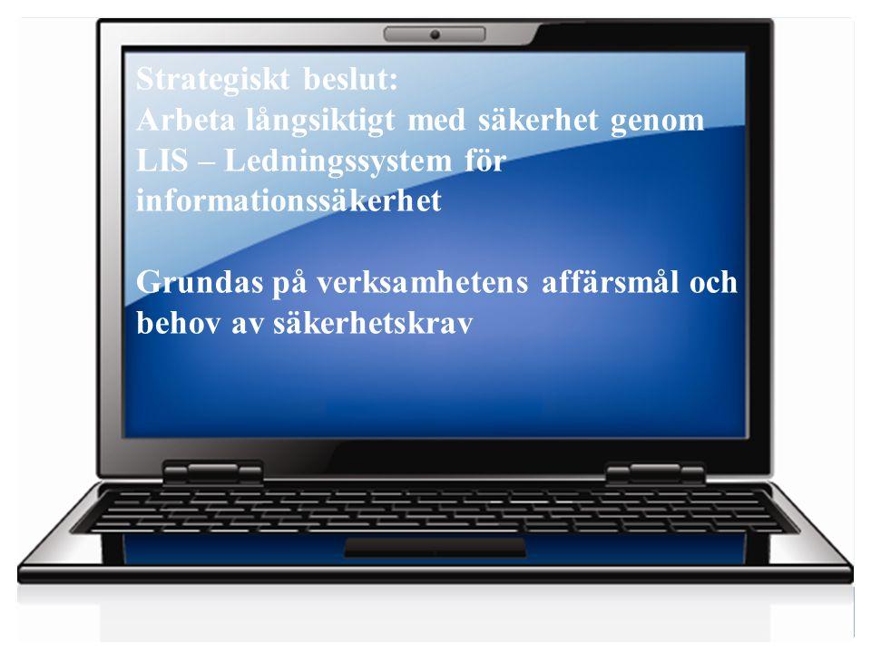 Strategiskt beslut: Arbeta långsiktigt med säkerhet genom. LIS – Ledningssystem för informationssäkerhet.