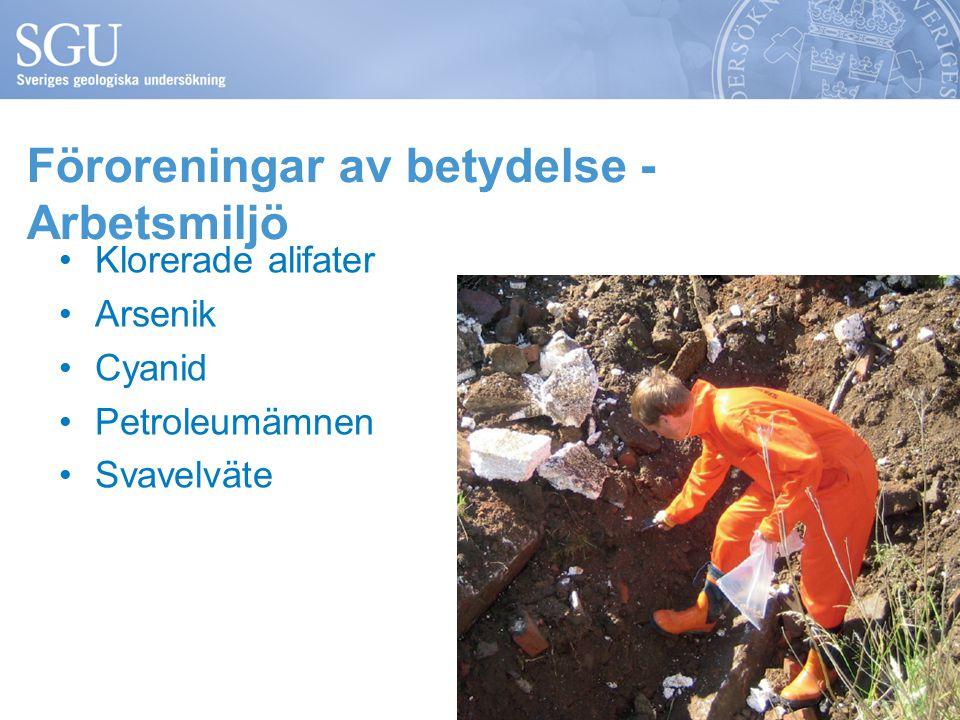 Föroreningar av betydelse - Arbetsmiljö