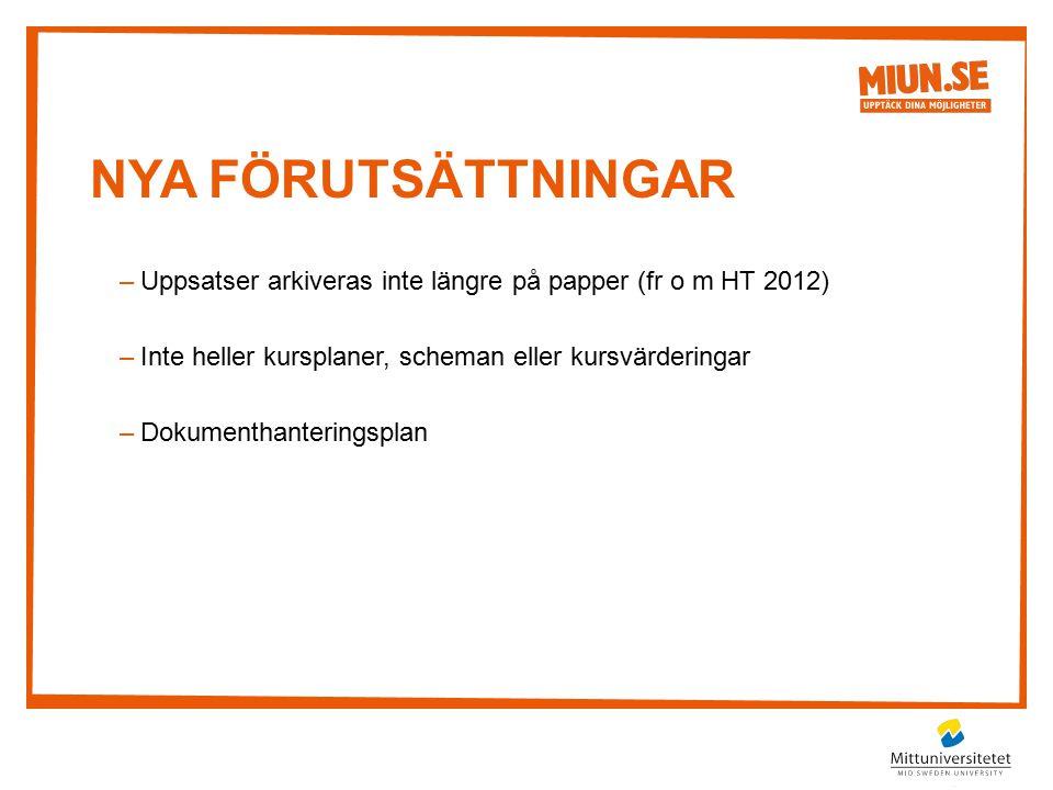 NYA förutsättningar Uppsatser arkiveras inte längre på papper (fr o m HT 2012) Inte heller kursplaner, scheman eller kursvärderingar.