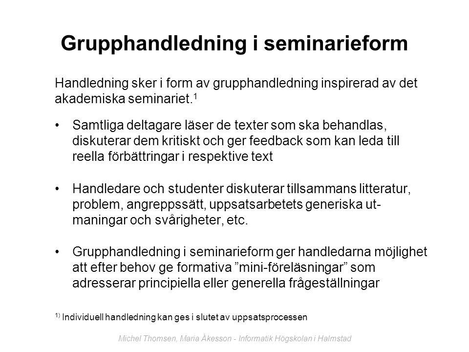 Grupphandledning i seminarieform