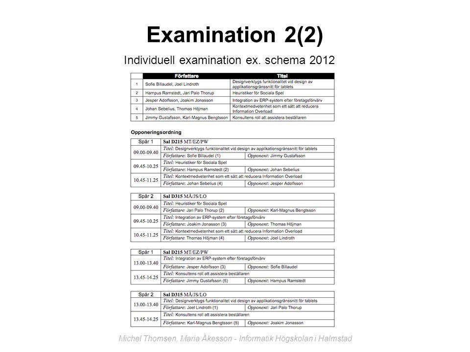 Examination 2(2) Individuell examination ex. schema 2012