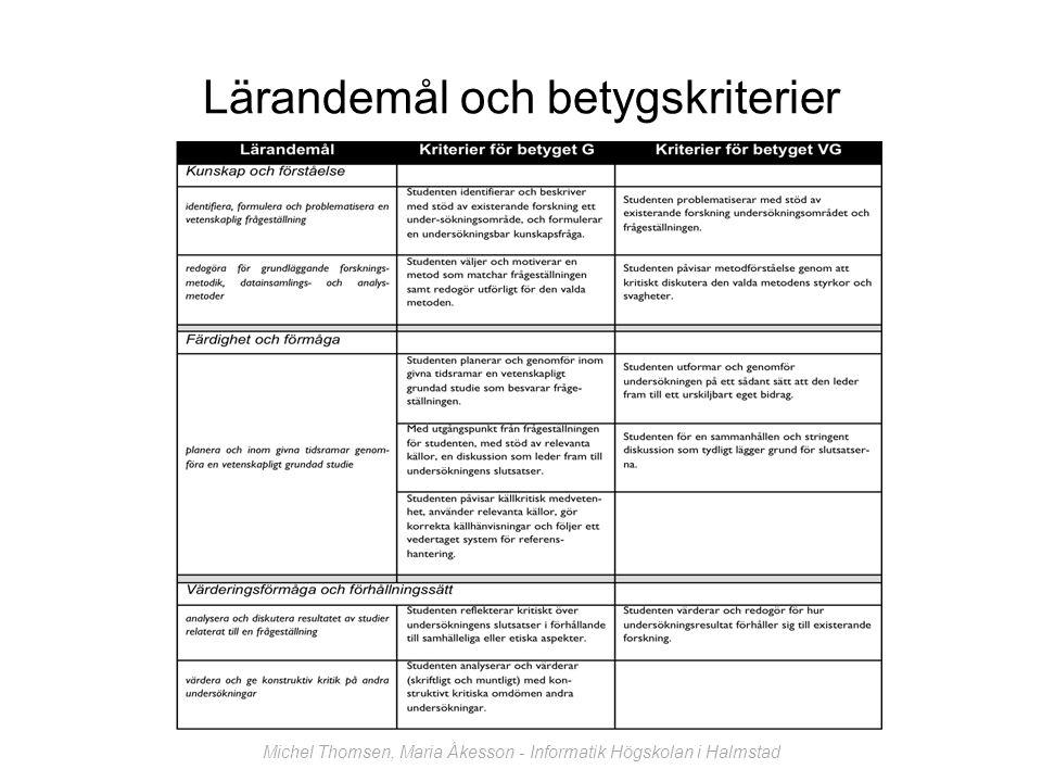Lärandemål och betygskriterier