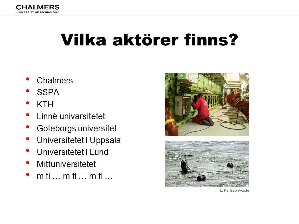 Vilka aktörer finns Chalmers SSPA KTH Linnè univarsitetet
