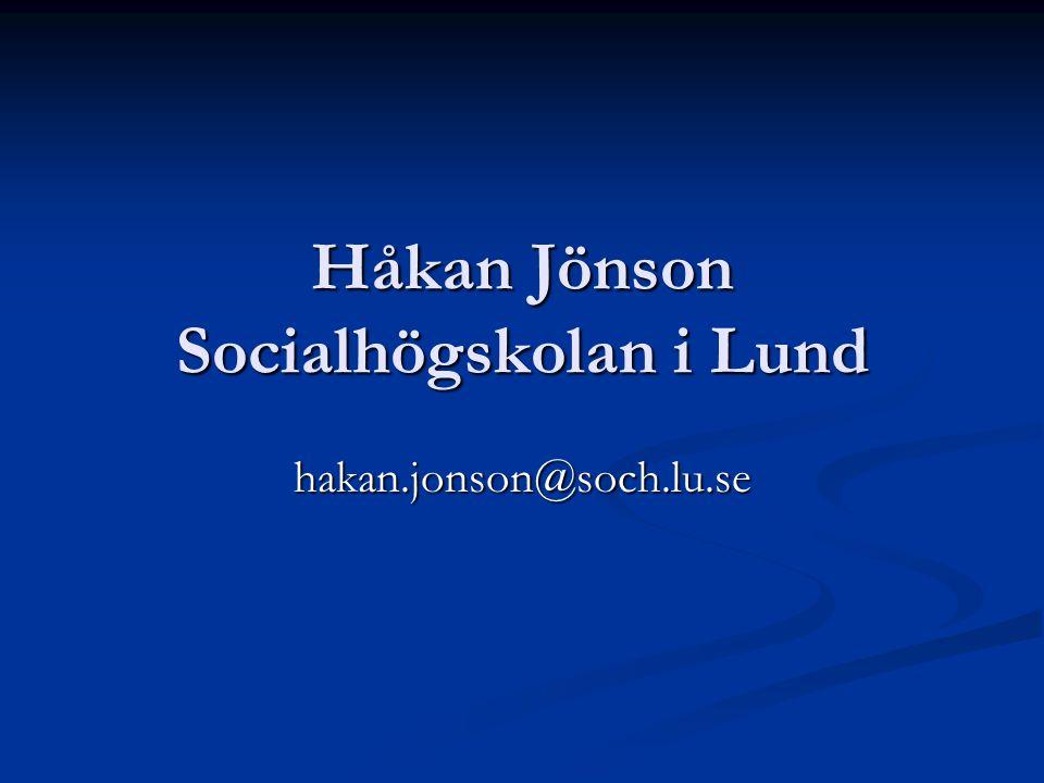 Håkan Jönson Socialhögskolan i Lund