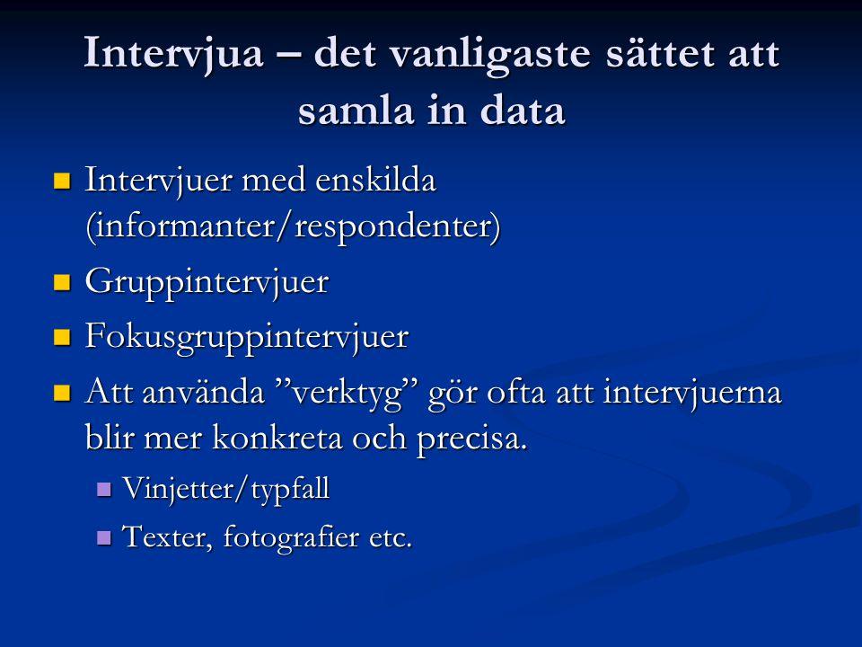 Intervjua – det vanligaste sättet att samla in data