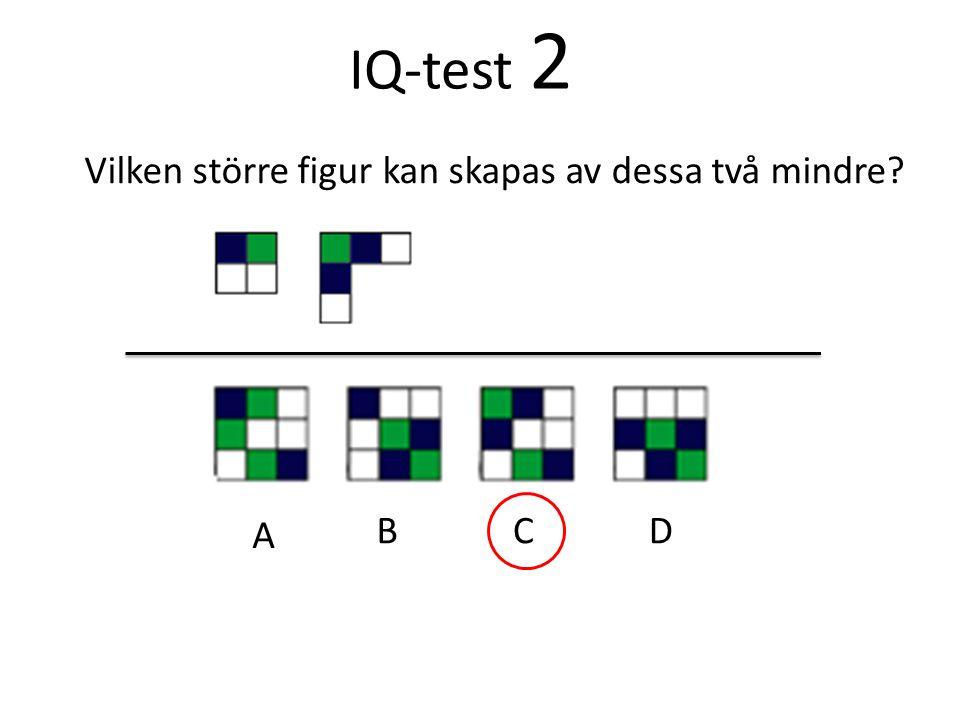 IQ-test 2 Vilken större figur kan skapas av dessa två mindre A B C D