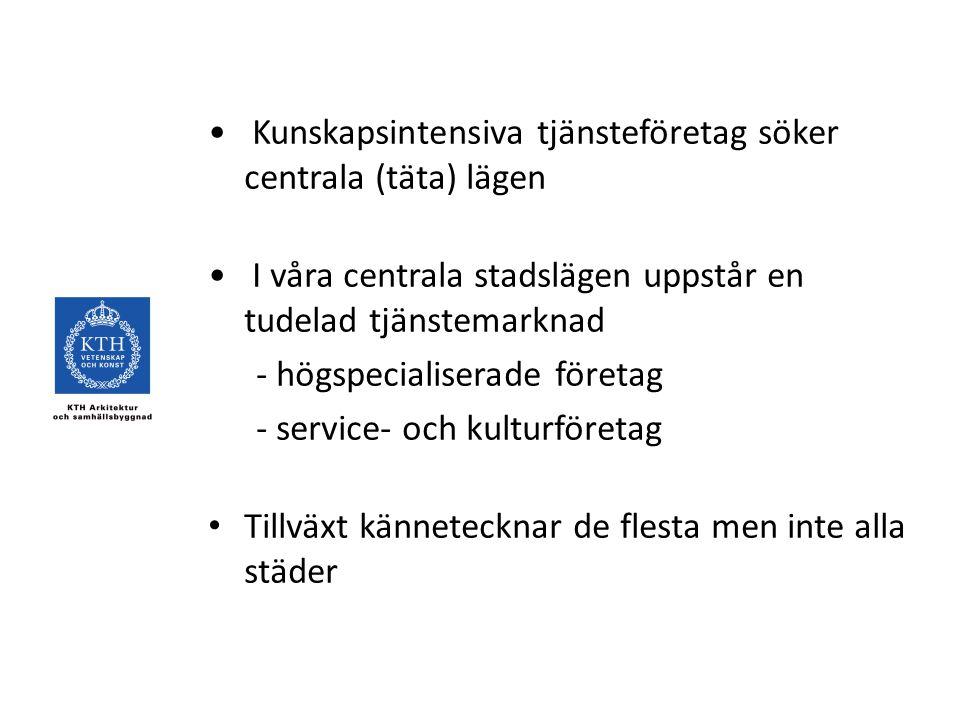 Kunskapsintensiva tjänsteföretag söker centrala (täta) lägen