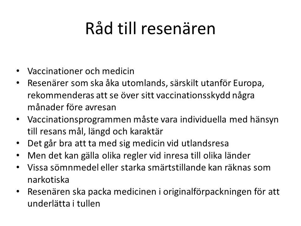 Råd till resenären Vaccinationer och medicin