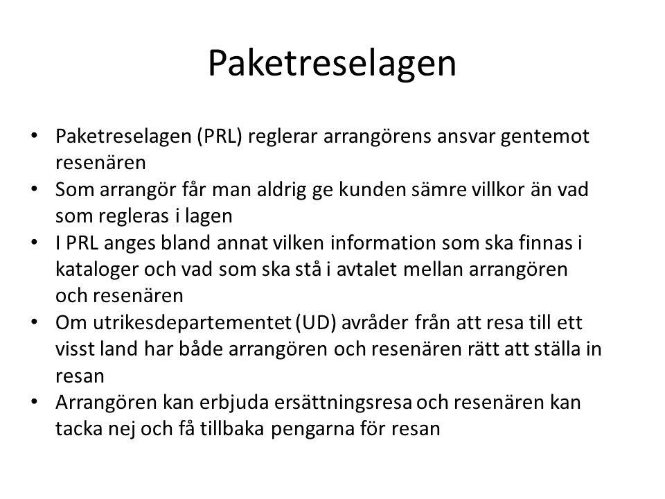 Paketreselagen Paketreselagen (PRL) reglerar arrangörens ansvar gentemot resenären.