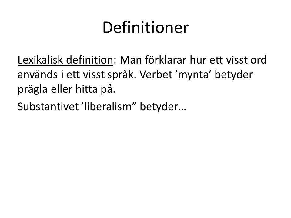 Definitioner Lexikalisk definition: Man förklarar hur ett visst ord används i ett visst språk. Verbet 'mynta' betyder prägla eller hitta på.