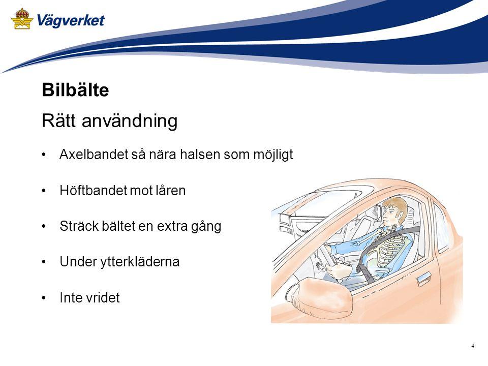 Bilbälte Rätt användning Axelbandet så nära halsen som möjligt