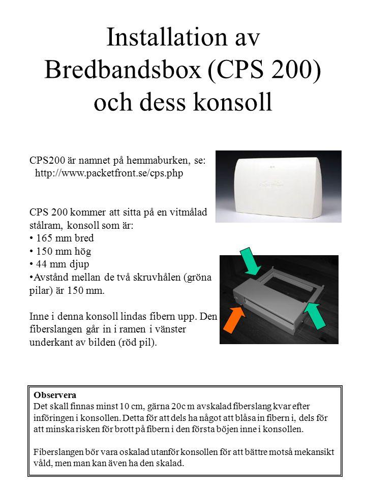 Installation av Bredbandsbox (CPS 200) och dess konsoll