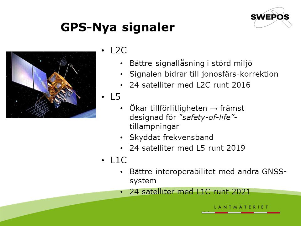 GPS-Nya signaler L2C L5 L1C Bättre signallåsning i störd miljö