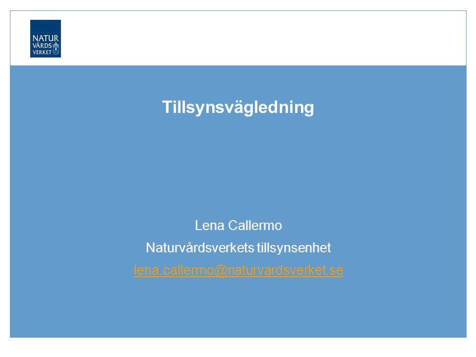 Tillsynsvägledning Lena Callermo Naturvårdsverkets tillsynsenhet