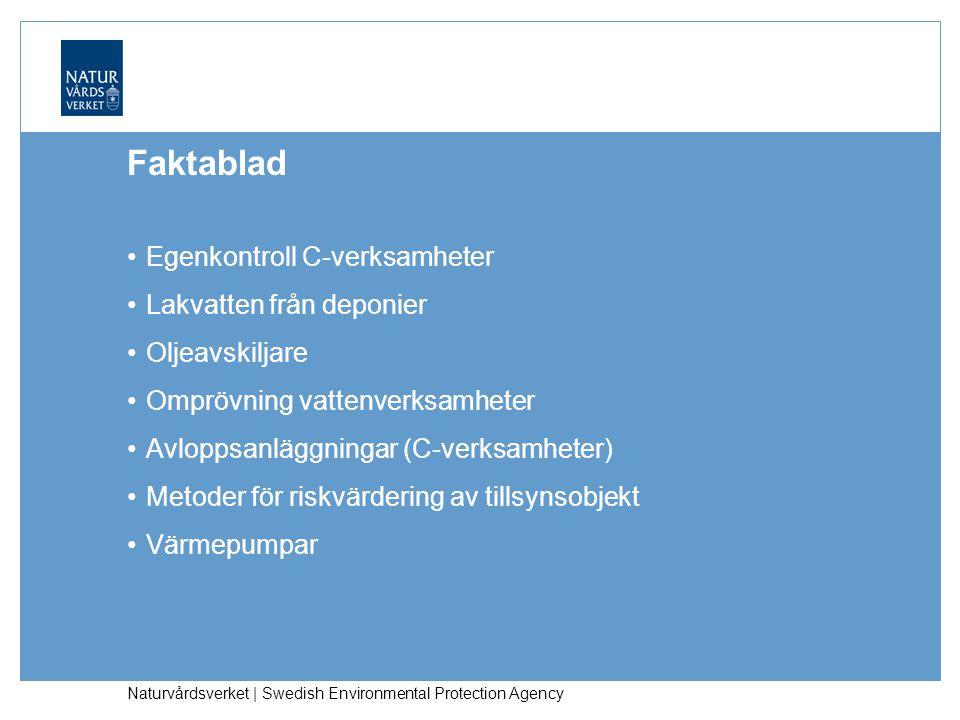 Faktablad Egenkontroll C-verksamheter Lakvatten från deponier