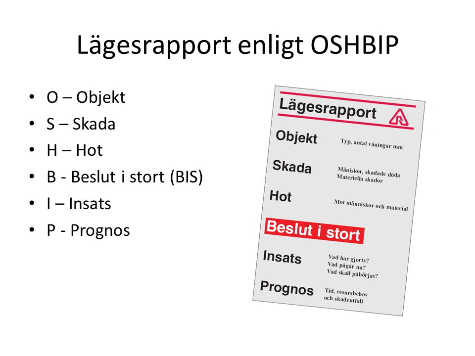 Lägesrapport enligt OSHBIP
