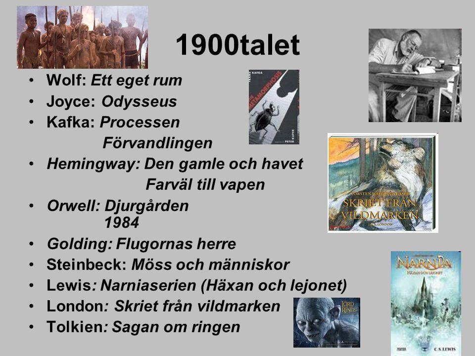 1900talet Wolf: Ett eget rum Joyce: Odysseus Kafka: Processen