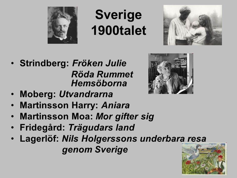 Sverige 1900talet Strindberg: Fröken Julie Röda Rummet Hemsöborna