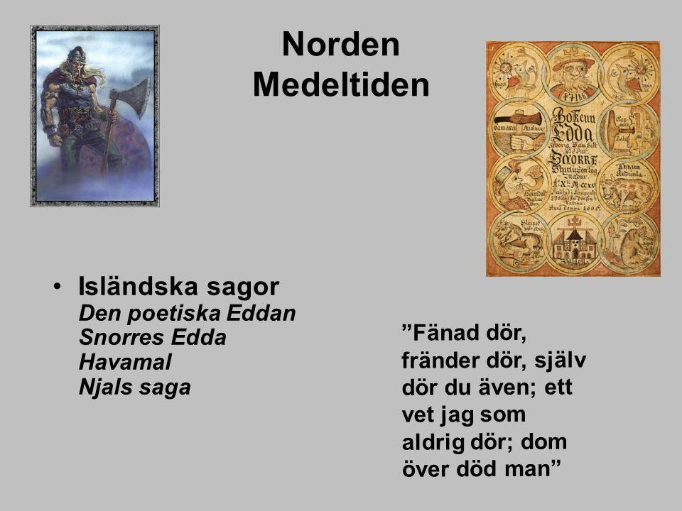 Norden Medeltiden Isländska sagor Den poetiska Eddan Snorres Edda Havamal Njals saga.