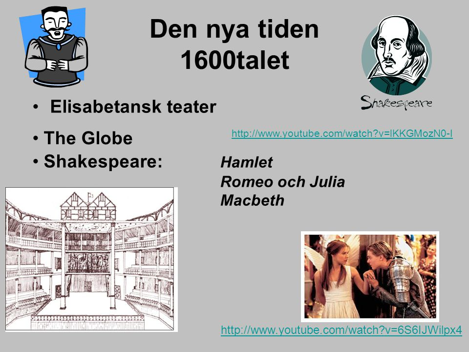 Den nya tiden 1600talet Elisabetansk teater The Globe