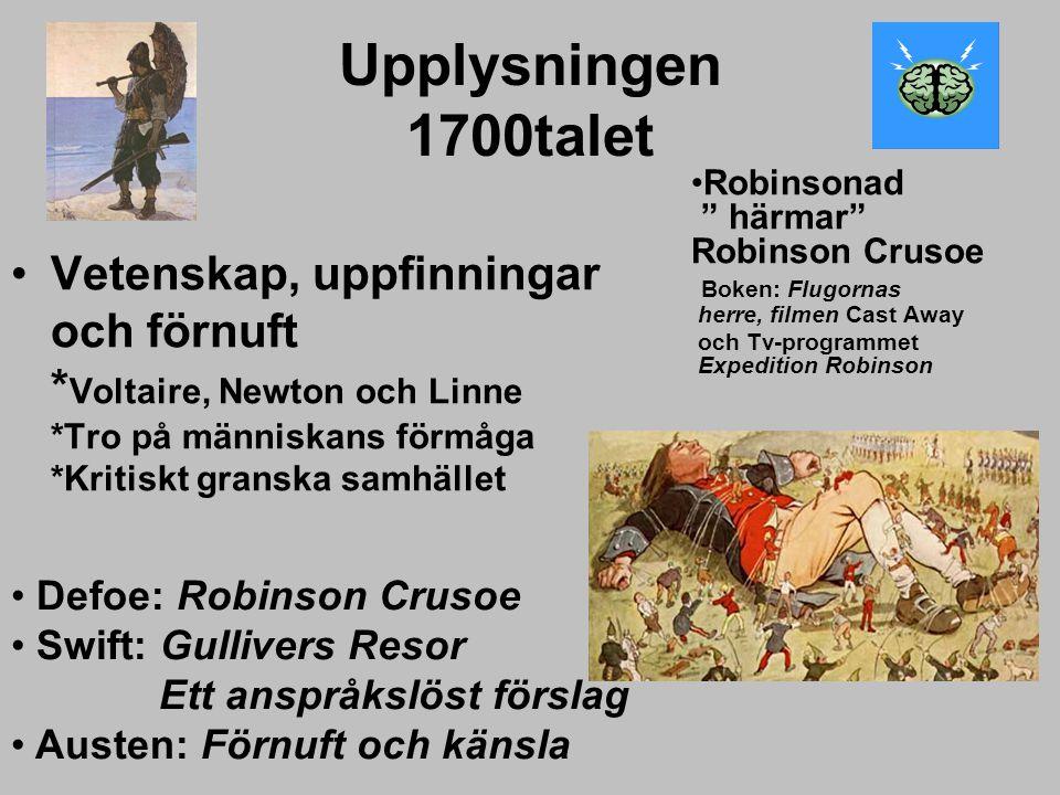 Upplysningen 1700talet Robinsonad härmar Robinson Crusoe Boken: Flugornas herre, filmen Cast Away.