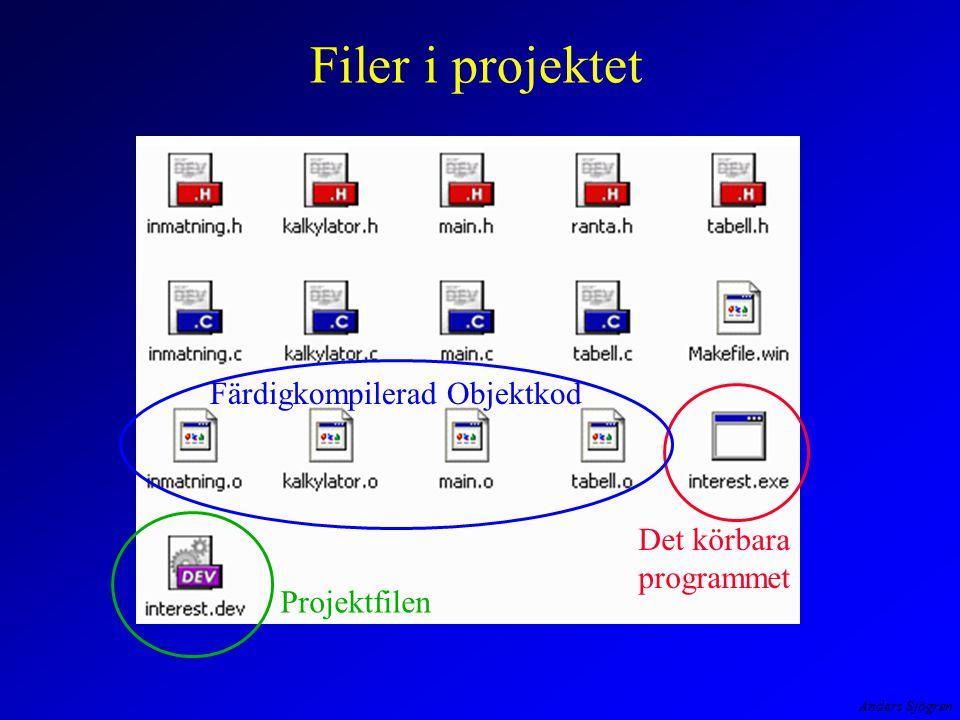 Filer i projektet Färdigkompilerad Objektkod Det körbara programmet