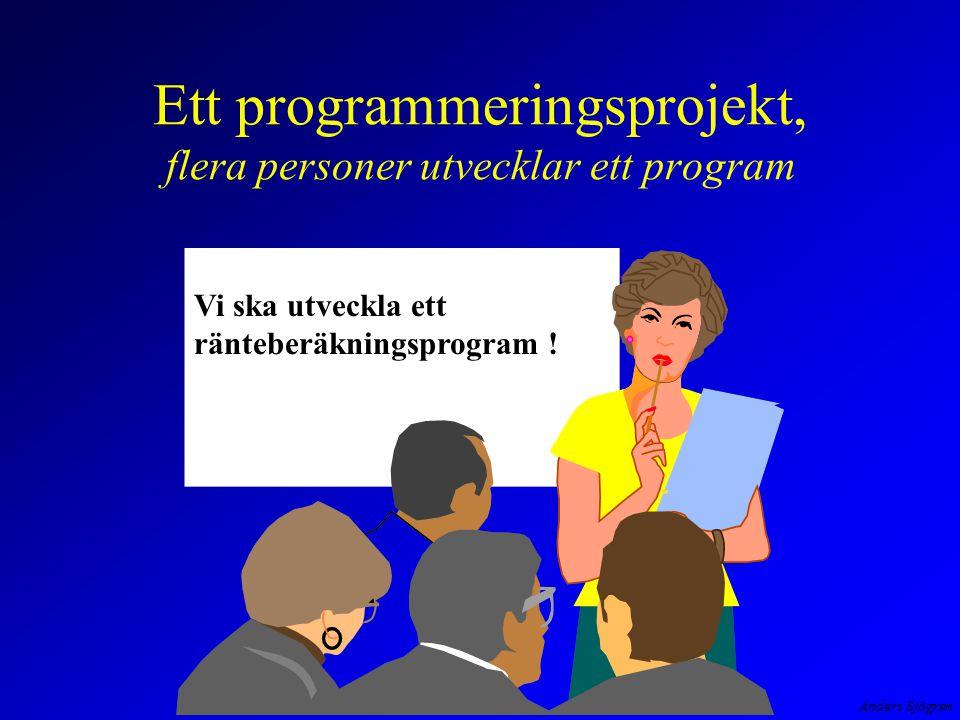 Ett programmeringsprojekt, flera personer utvecklar ett program