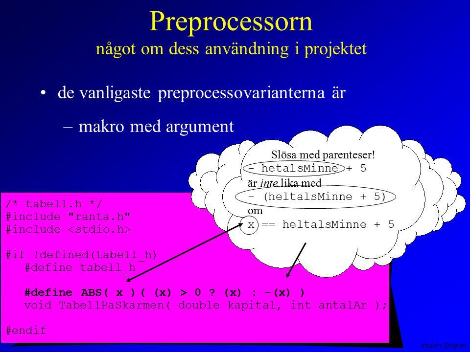 Preprocessorn något om dess användning i projektet
