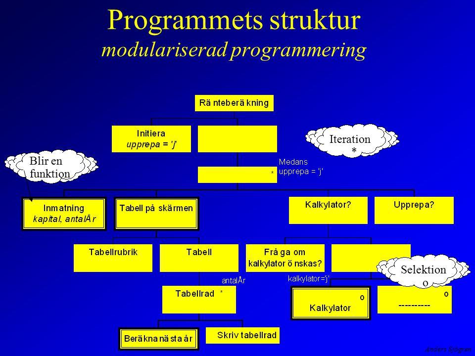 Programmets struktur modulariserad programmering