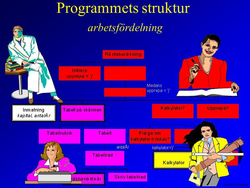 Programmets struktur arbetsfördelning