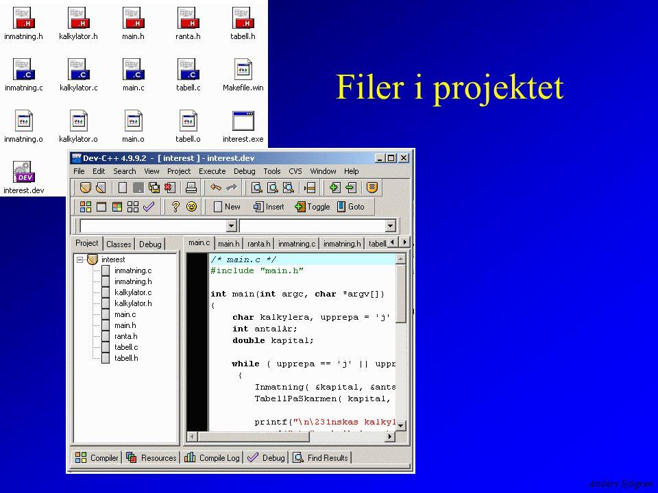 Filer i projektet Alla moderna programutvecklings-program har stöd för hantering av projekt som består av många filer.