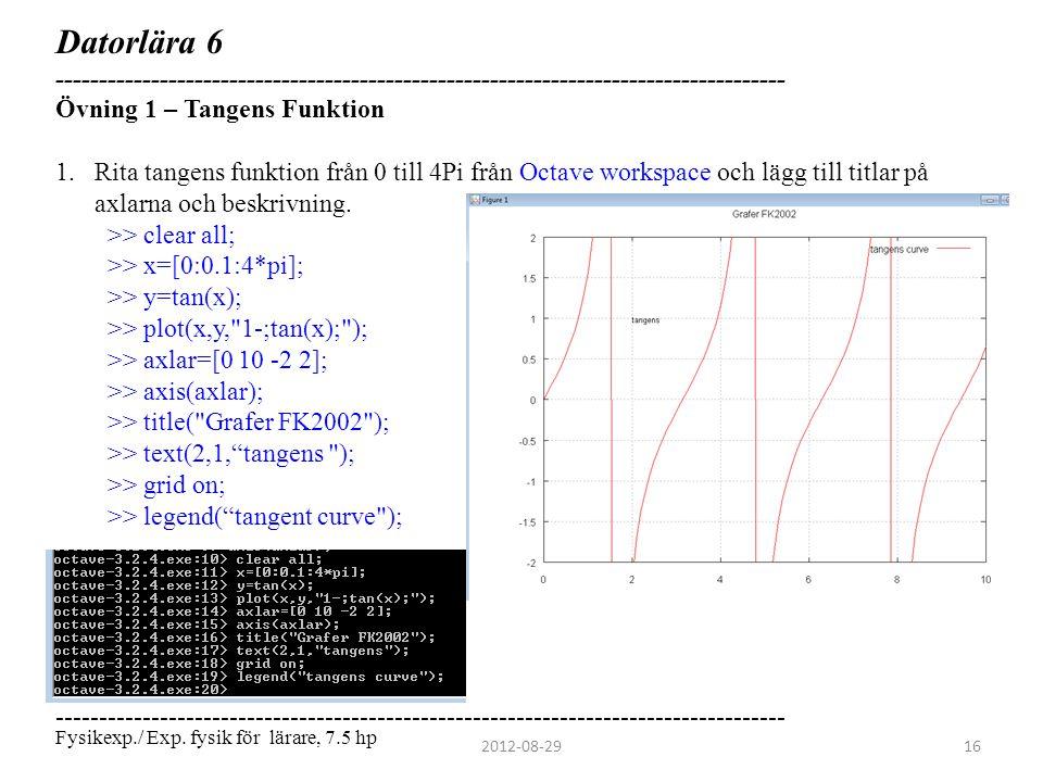 Datorlära 6 ------------------------------------------------------------------------------------ Övning 1 – Tangens Funktion.