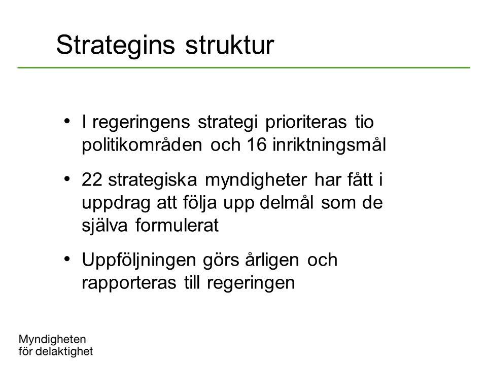 Strategins struktur I regeringens strategi prioriteras tio politikområden och 16 inriktningsmål.