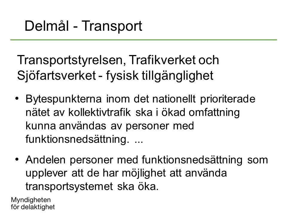2017-04-08 Delmål - Transport. Transportstyrelsen, Trafikverket och Sjöfartsverket - fysisk tillgänglighet.