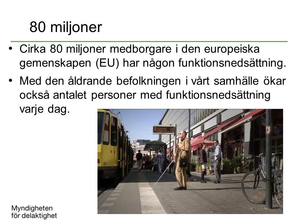 80 miljoner Cirka 80 miljoner medborgare i den europeiska gemenskapen (EU) har någon funktionsnedsättning.